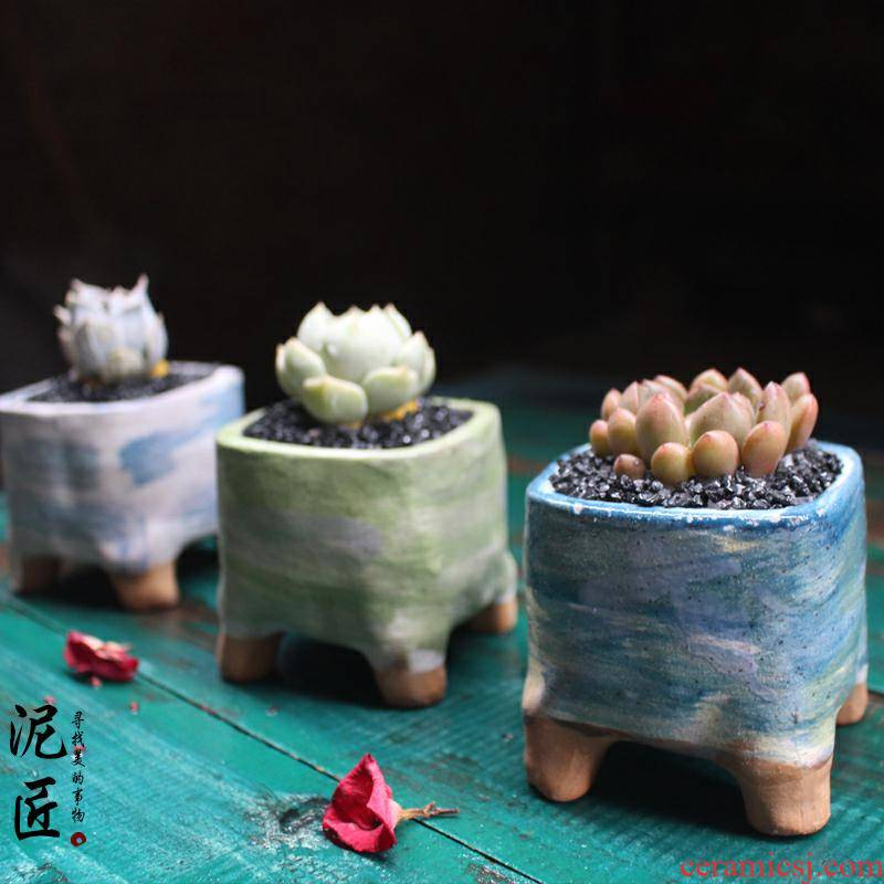 Fleshy flower - pot ceramic hand - made ceramic creative square air suction meat meat the plants flower pot in restoring ancient ways than plastic