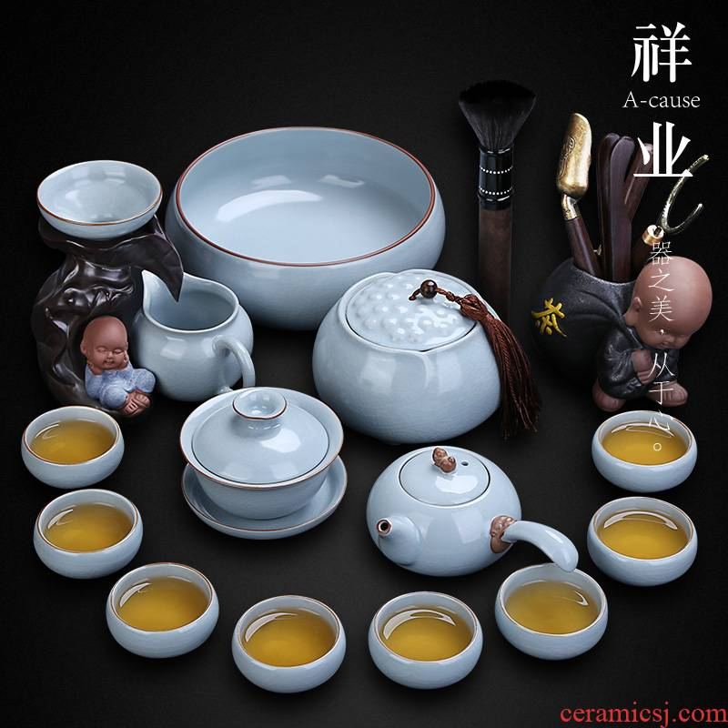 Auspicious industry restoring ancient ways your up kung fu tea set home to open the slice your up of a complete set of ceramic tea cup office receives a visitor
