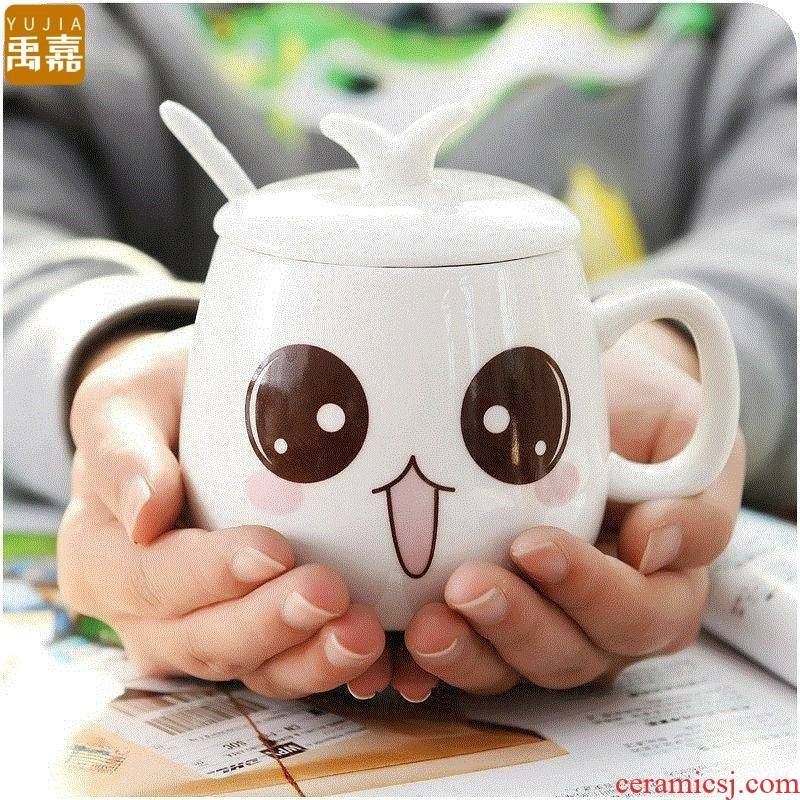 Creative YuJia, lovely cup with cover run cereal breakfast milk coffee cup ceramic keller super girl of heart
