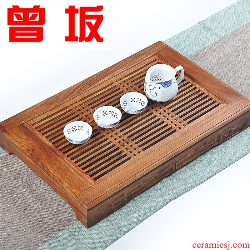Once sitting by the pear wood tea tray was large, the draw - out type tea table sea kung fu tea tea saucer dish ebony drainage