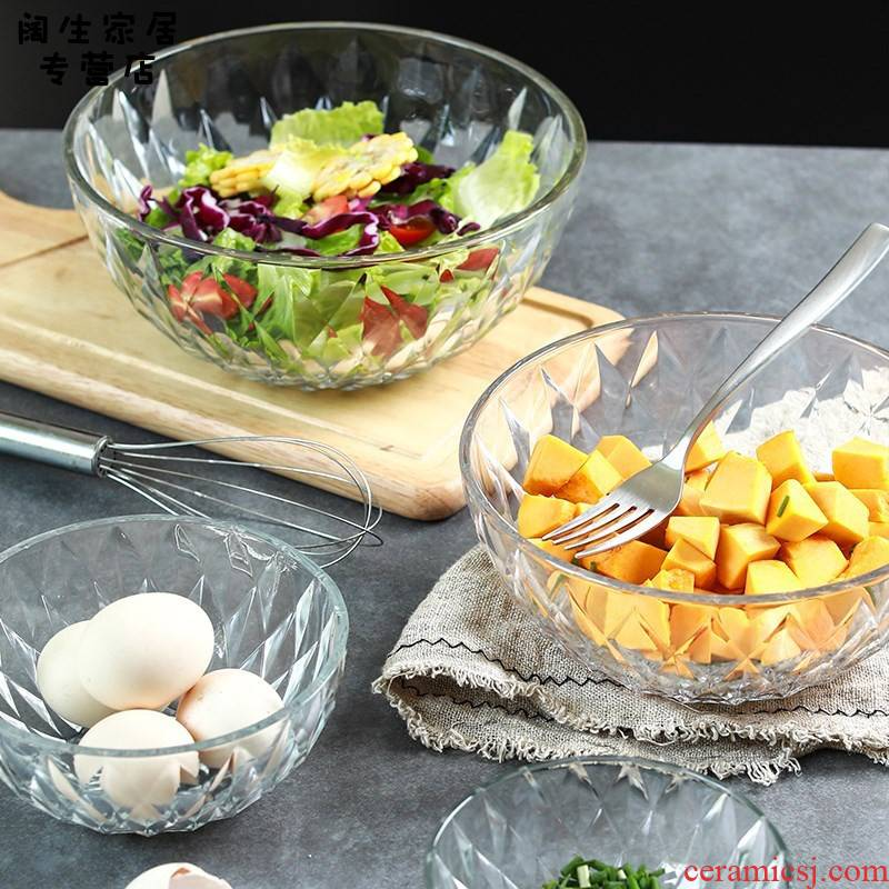 Glass salad salad bowl of cold kitchen utensils French classical household small crystal bowl Nordic fan