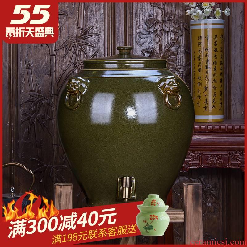 Jingdezhen ceramic jar 20/50/100 jins cylinder tank altar wine mercifully wine barrel with the tap