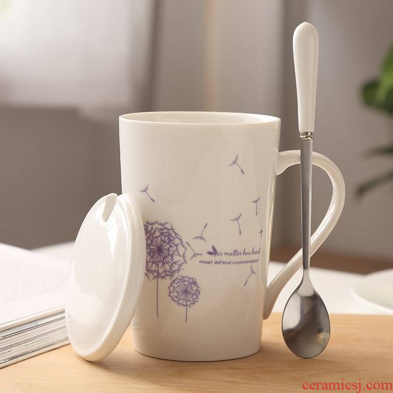 Coffee cup tea lovers water glass ceramic keller princess girl with cover the spoon with cover home office