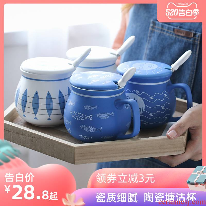 E best Nordic with cover, take a run of large capacity coffee cup keller couples han edition creative ceramic cup