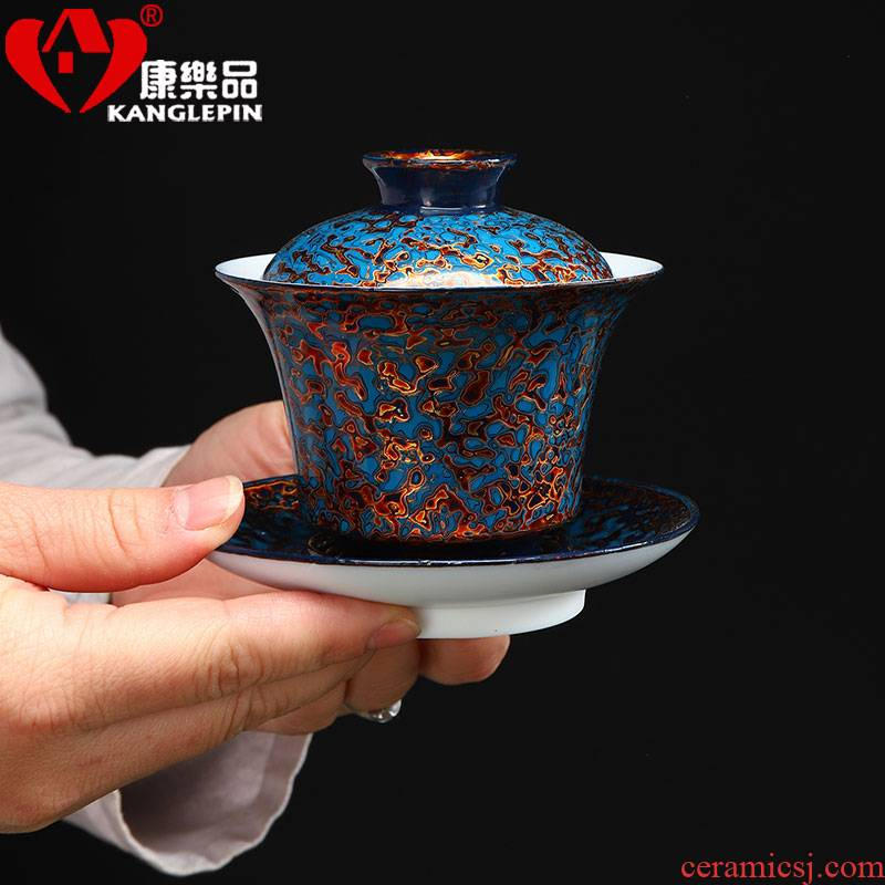 Recreational product lacquer suet jade three worship cup to make tea tureen ceramic ware manual big bowl with Chinese style