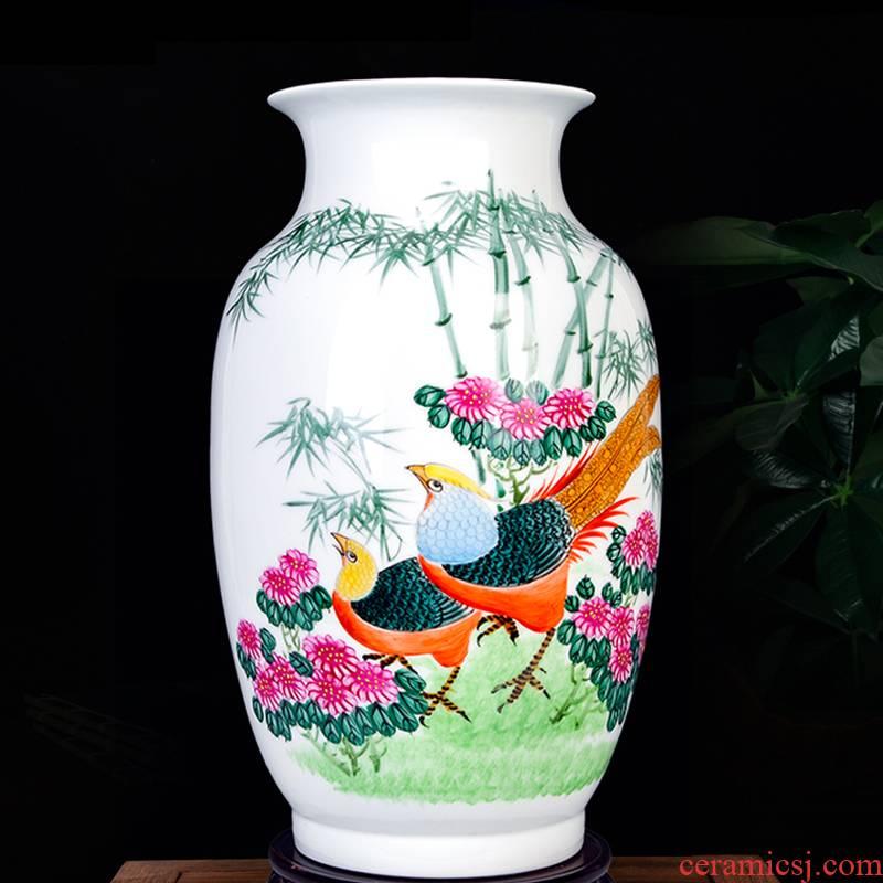 Jingdezhen ceramics hand - made enamel vase household living room TV ark, porch decoration craft flower arranging furnishing articles