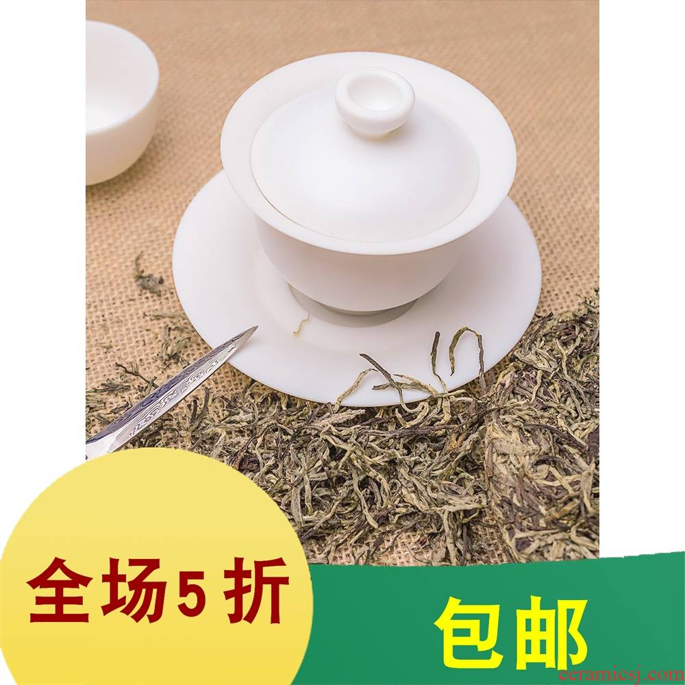 Garden of 2019 dehua white porcelain of the next large tureen hand embryo ceramic cups three bowl of kung fu tea biscuit firing Chinese style