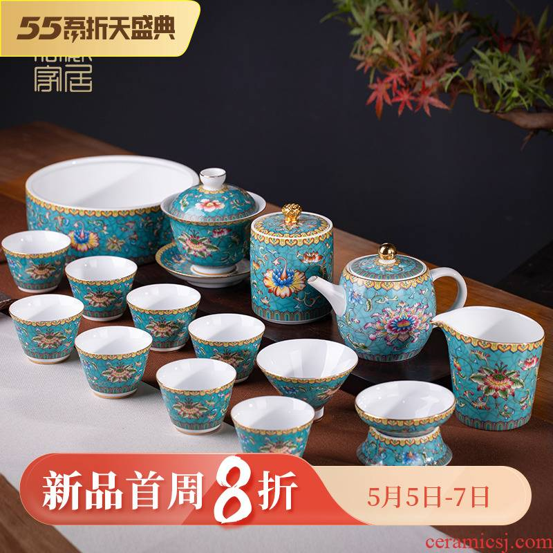 Blower, kung fu tea set home sitting room visitor jingdezhen ceramic hand - made colored enamel Chinese tea tea