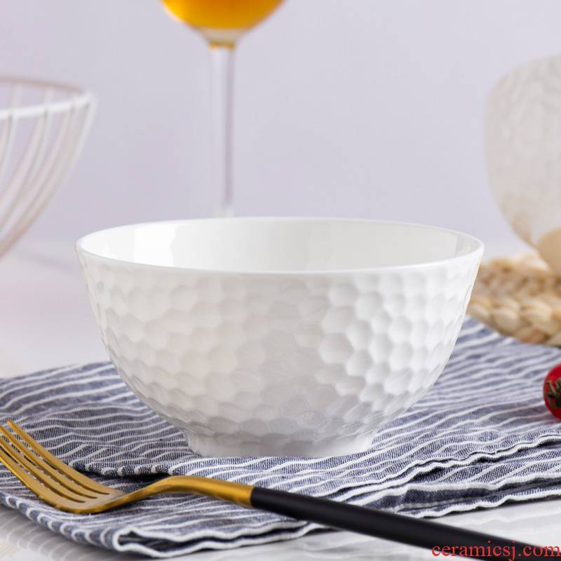 The Is rhyme of jingdezhen ceramic bowl white creative relief porringer household rice bowls contracted light much tableware bowls