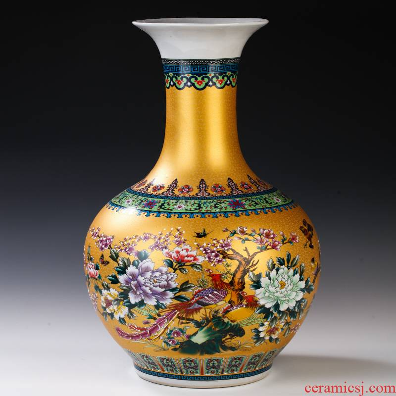 Chinese jingdezhen ceramics colored enamel of large vases, flower, flower arrangement sitting room adornment is placed large