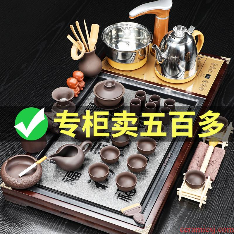 Auspicious industry kung fu tea tea sets solid wood tea tray tea machine automatic household electrical appliances living room office receives a visitor
