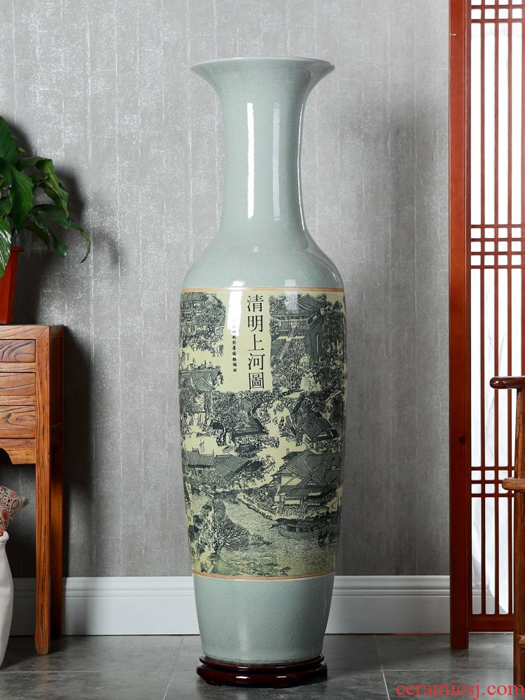 Hotel opening office study Chinese jingdezhen ceramics of large vase flower arrangement sitting room adornment is placed