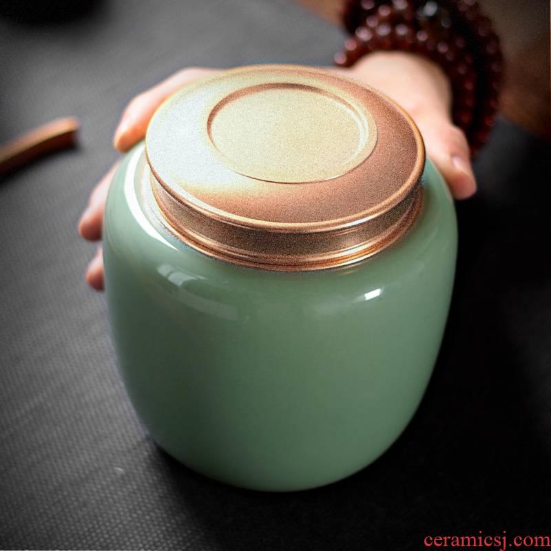 Large seal caddy fixings longquan celadon tea pu 'er portable household ceramic tea pot storage tanks