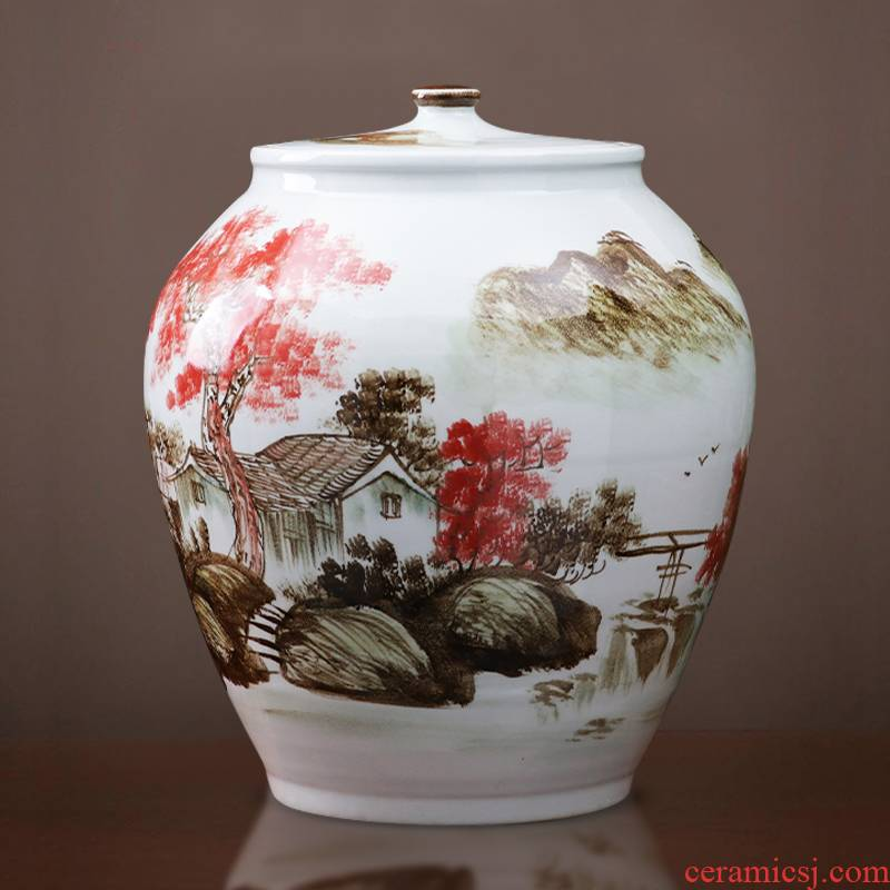 Jingdezhen ceramics with cover ricer box tank 50 kg barrel household insect - resistant seal grain storage jar