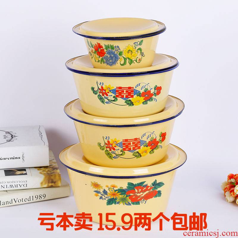 Old enamel POTS with cover soup pot enamel dumpling stuffing basin sauce bowl boil medicine deepen hand washing bowl of lard