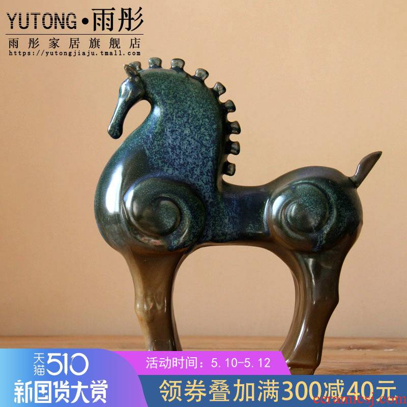 Rain tong home | furnishing articles feng shui decorations war horse up jingdezhen ceramics craft porcelain horse creative big pendulum