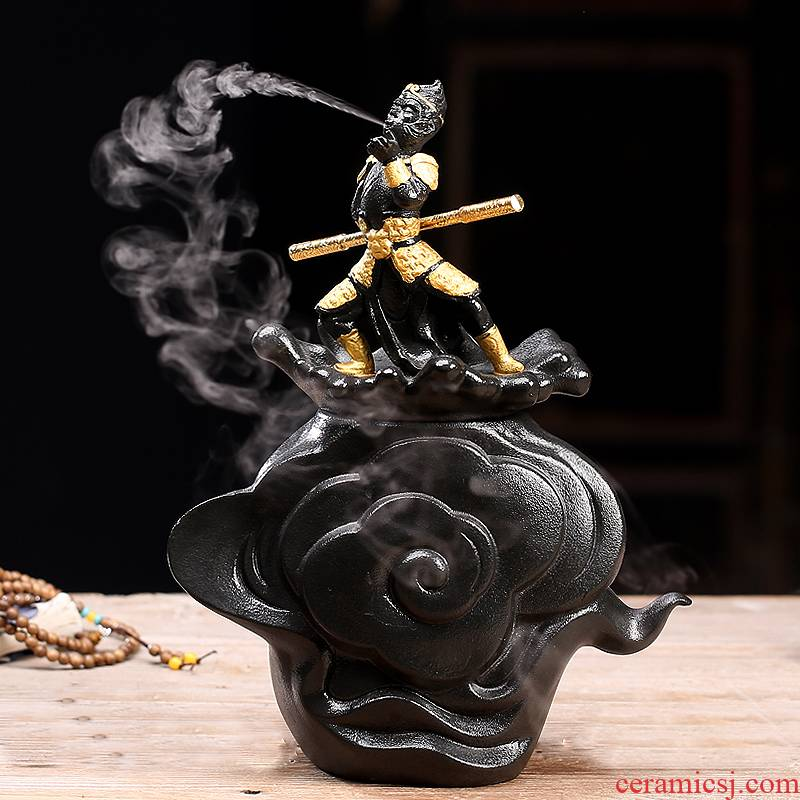 Porcelain heng tong household act the role ofing is tasted furnishing articles individuality creative sun wukong was humidifier indoor home office desktop decoration