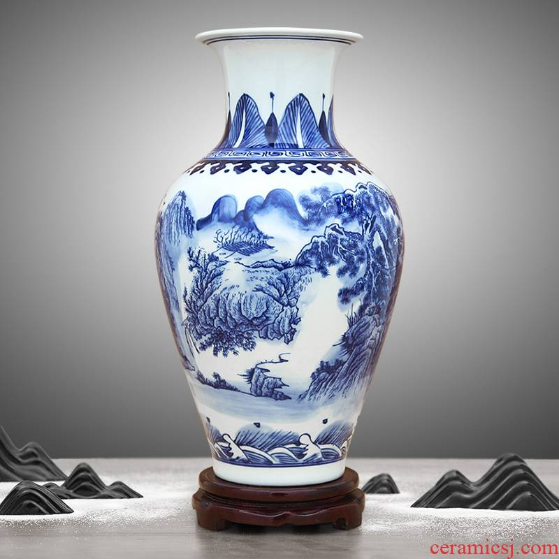 Chinese blue and white porcelain of jingdezhen ceramics hand - made scenery furnishing articles home wine ark, adornment porcelain vase in the living room