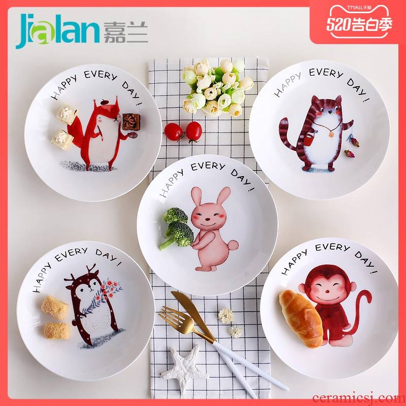 Garland ipads China creative cartoon 0, 7 inch small household deep dish the tableware ceramics soup plate round western dishes