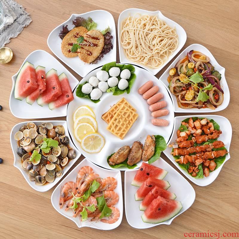 Hotel ceramic tai chi combo platter household put dish plate of irregular round round disc reunion cutlery set