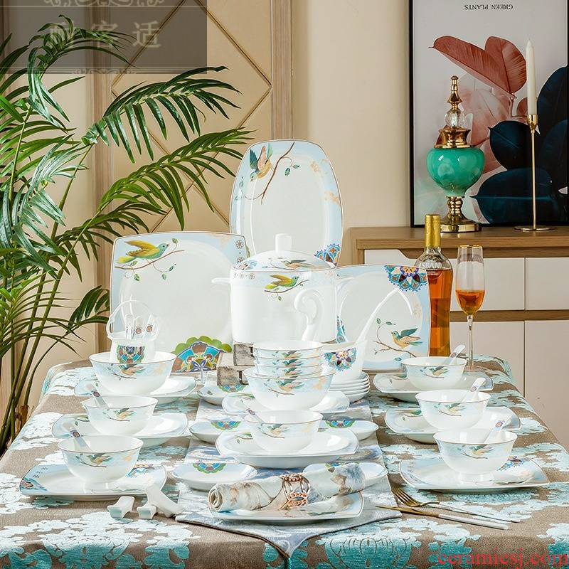 Hold to guest comfortable high - grade ceramic tableware suit jingdezhen bowls plates contracted the clear ipads porcelain tableware tableware household