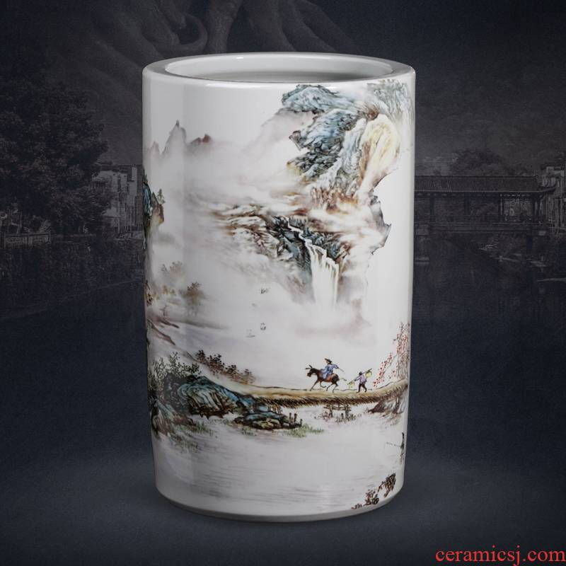 Jingdezhen ceramic painting and calligraphy cylinder Chinese calligraphy and painting scroll cylinder cylinder study to receive a large sitting room ground adornment furnishing articles