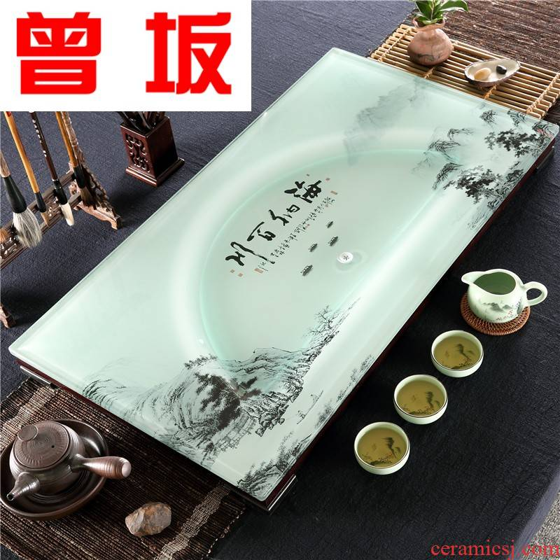 Once sitting home office kung fu tea set tea tray was suit oversized large rectangle toughened glass