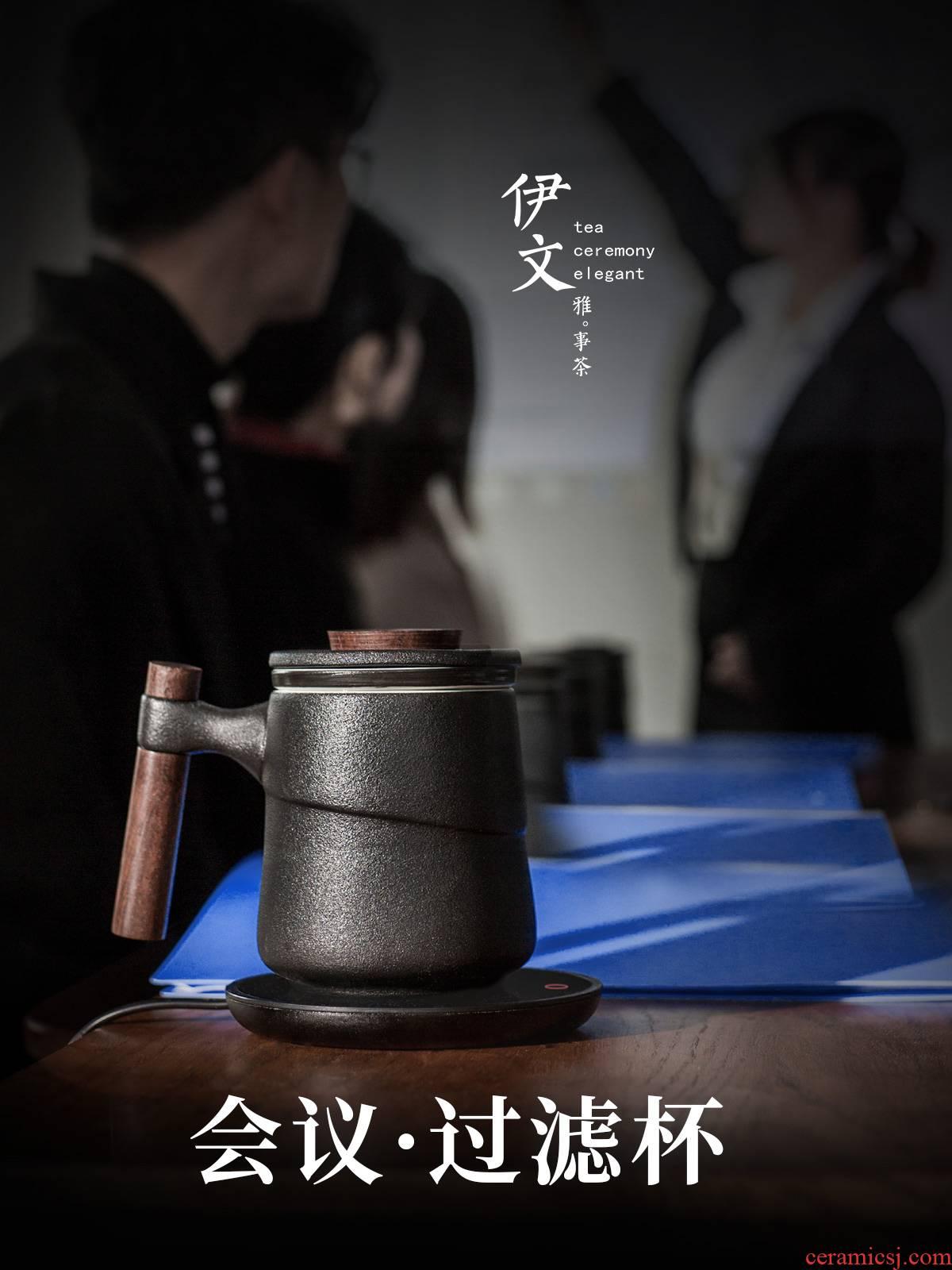 Evan ceramic wooden handle with cover filter ceramic keller cups contracted office make tea tea tea cup