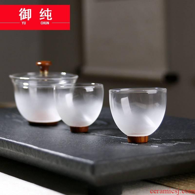 Royal pure heat - resistant glass tea just tureen wood bottom three points kung fu tea set glass tureen two cups