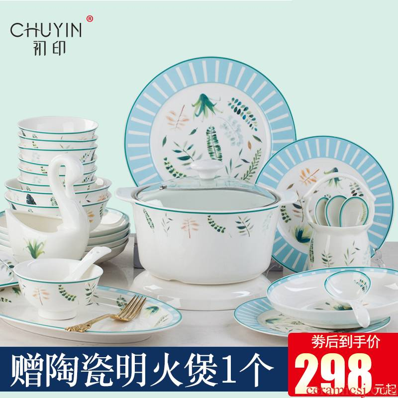 Ipads China tableware dishes suit dishes household contracted combination of jingdezhen ceramic Korean new creative small and pure and fresh