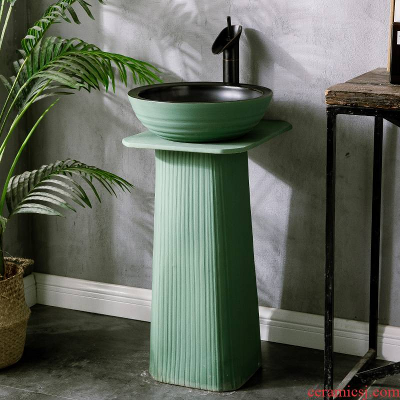 Ceramic column basin courtyard square sink basin one balcony creative pillar type is suing the lavatory household