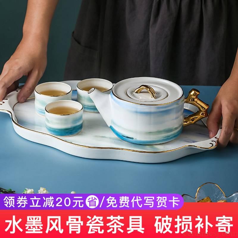 Tea set household contracted style ipads China Tea Tea with Tea tray was wedding gifts