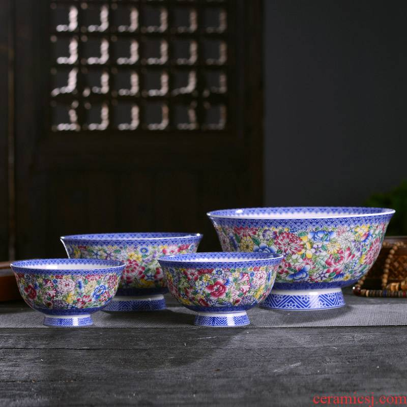 Jingdezhen domestic ceramic bowls of porridge to use of a single large pull noodles in soup bowl of high antique Chinese longevity bowl of custom tableware