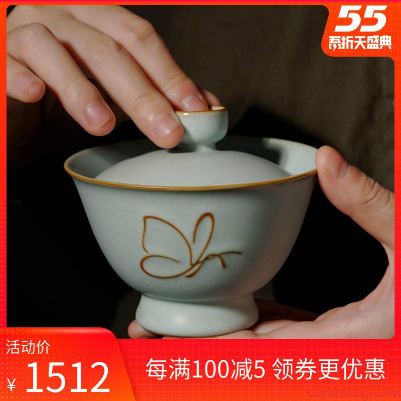 Manual tureen single jingdezhen only three ceramic cups imitation song dynasty style typeface restoring ancient ways your up tea bowl of ice to crack large celadon