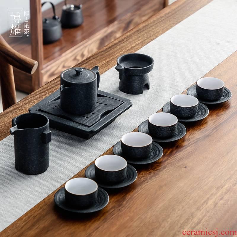 Bo yiu-chee Japanese tea sets kung fu tea set coarse pottery Chinese tea art household whole teapot teacup tea to wash