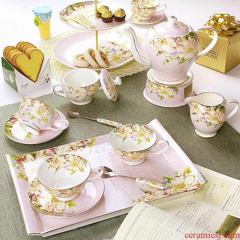 Ou tea sets coffee cup English afternoon tea tea sets red cup disc ceramic American coffee