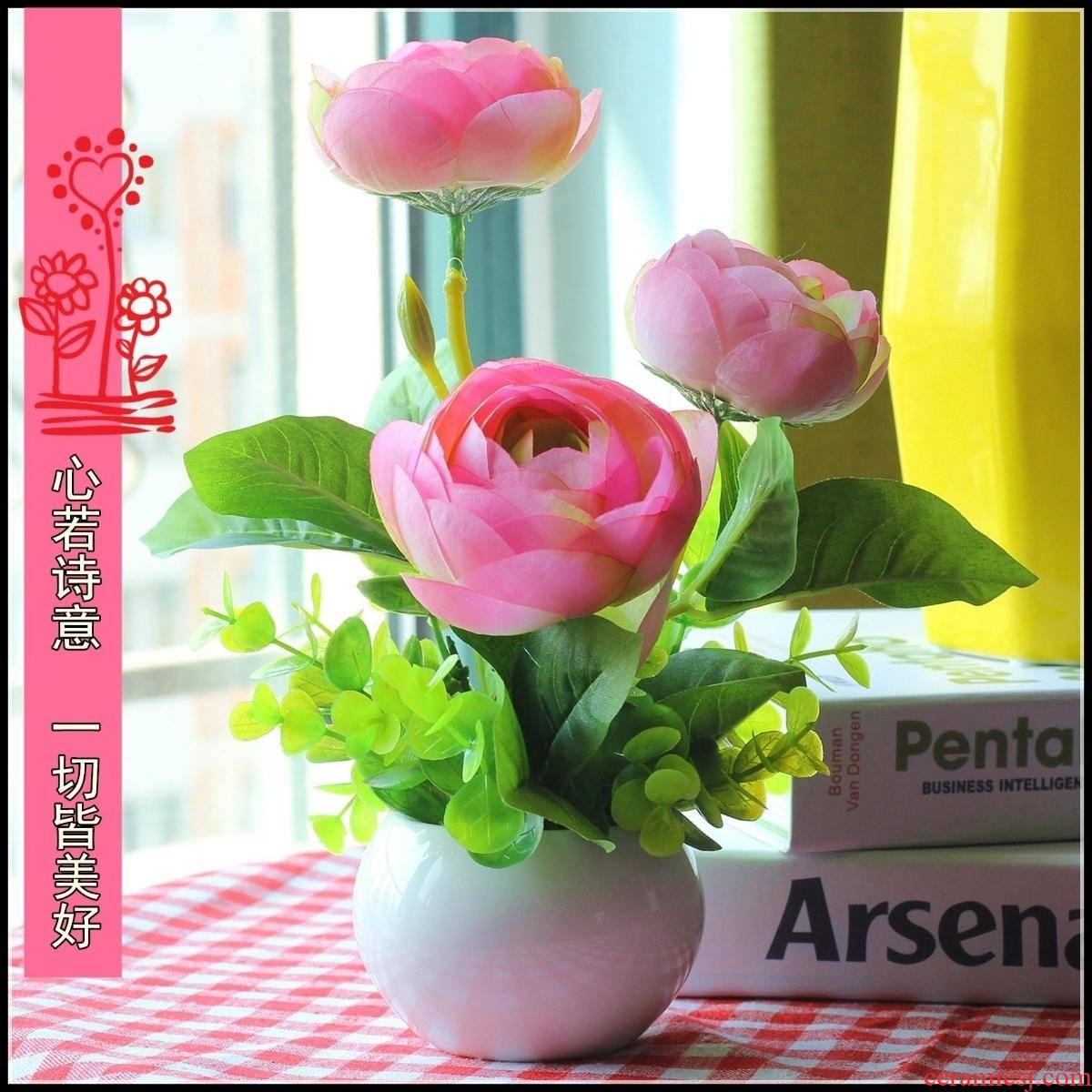 Fake flower pot sitting room tea table decoration table of furnishing articles on the refrigerator plastic plastic flower bouquets of interior decoration