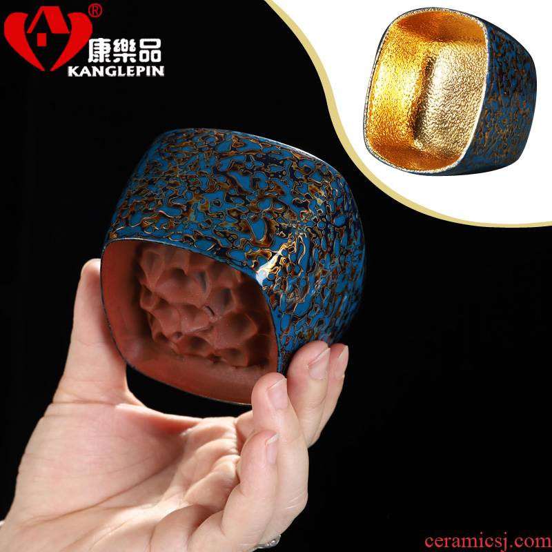 Recreational product lacquer tea pure manual Chinese lacquer violet arenaceous gold cup of kung fu tea cup single master cup ceramic gifts