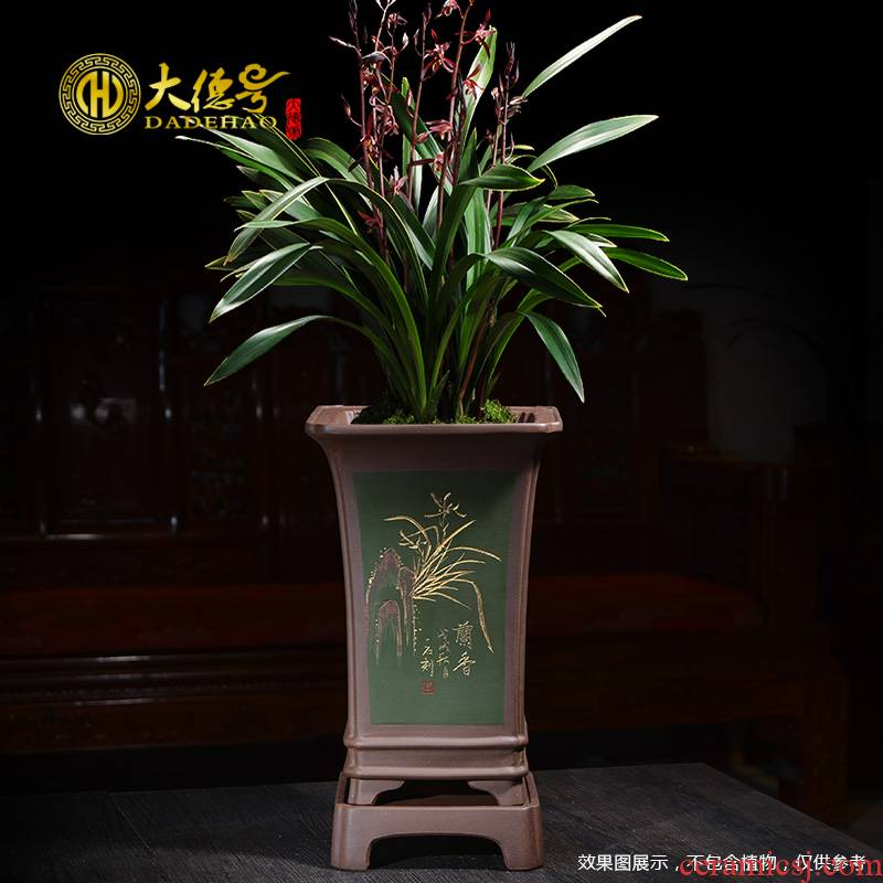 Orchid basin purple sand flowerpot ceramic pot facilities. We Orchid dedicated square with bonsai pot tray base