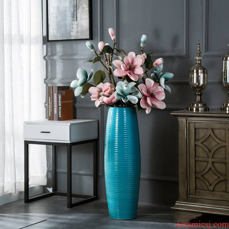 Ceramic light of large vase key-2 luxury furnishing articles dried flower arranging flowers home decoration blue glaze, the sitting room porch European - style decoration