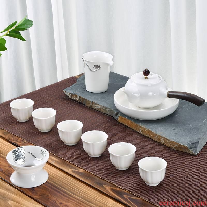 Xu dehua white porcelain ink suet jade inlay silver tea set household contracted ceramic office kung fu tea cups