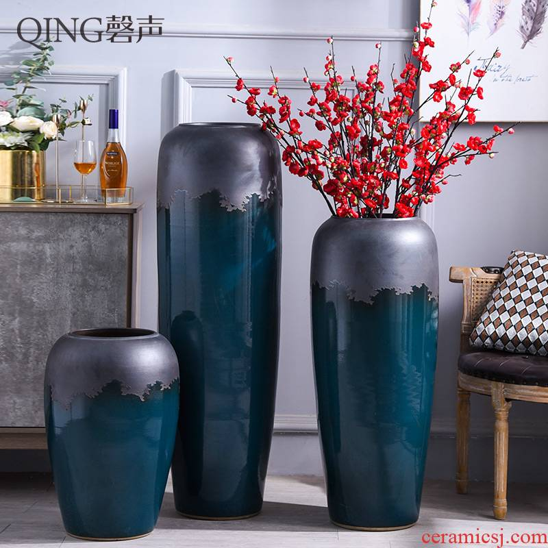 Ceramic vase of large modern European household dried flower arranging flowers sitting room adornment is placed hotel villa decoration
