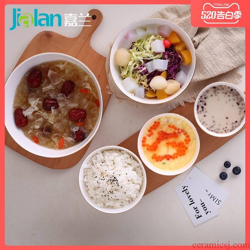 Garland ipads bowls creative embossed white up phnom penh high iron rice noodles eat salad household ceramic bowl
