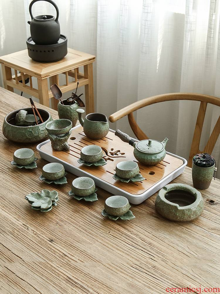 Bo yiu-chee coarse pottery teapot Japanese kung fu tea sets tea tray was contracted household ceramic tea cups, complete set