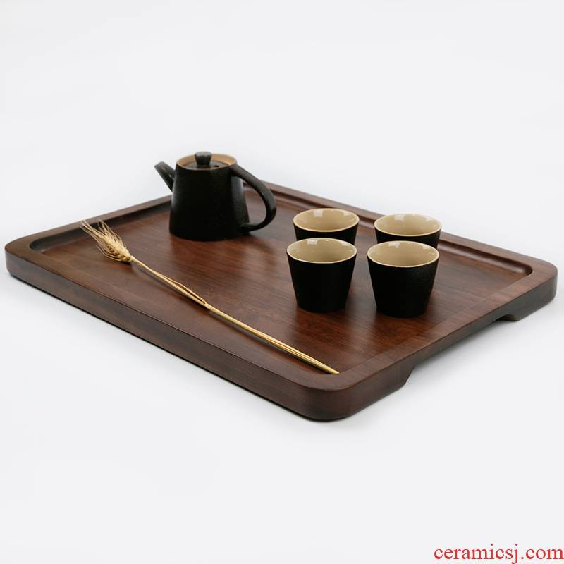 Black walnut real wood, with gripper tray tea tea cup dish wooden a rectangle cake dessert dish plate