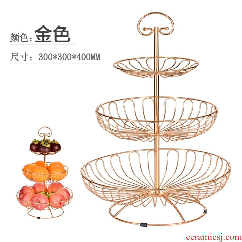 Creative fruit bowl tea table table stents desktop on the west three the layers of continental plate plate rack hotel