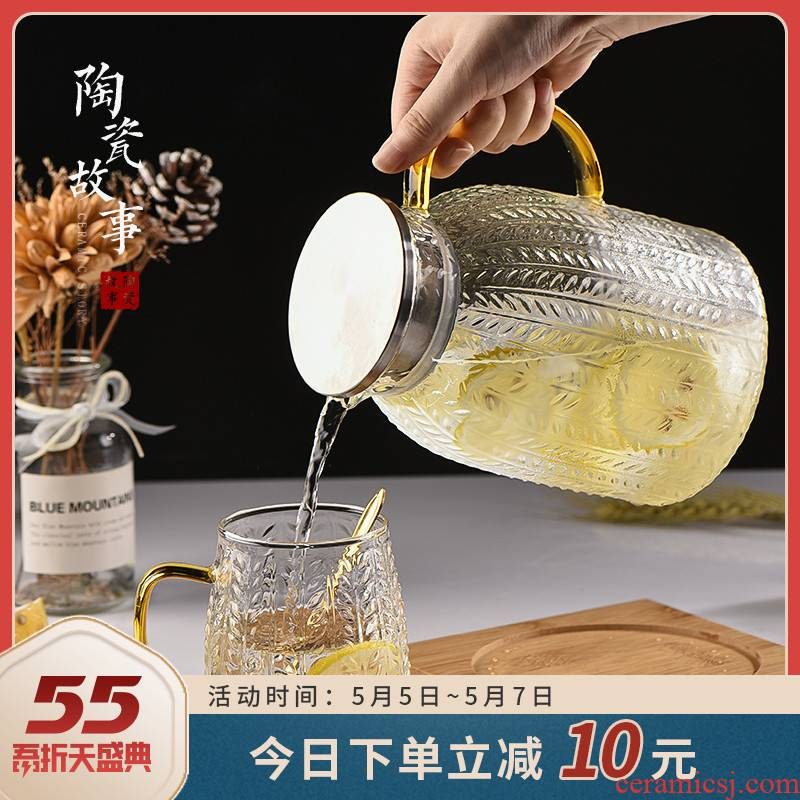 Ceramic story cold bottle glass high - temperature household kettle Nordic cool creative large - capacity glass kettle suits for