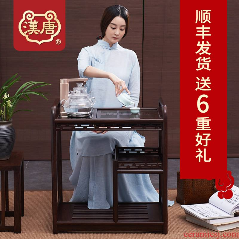 Han and tang dynasties, solid wood mobile tea sets tea tea tray pulley household kung fu tea set suit small contracted and I tea table