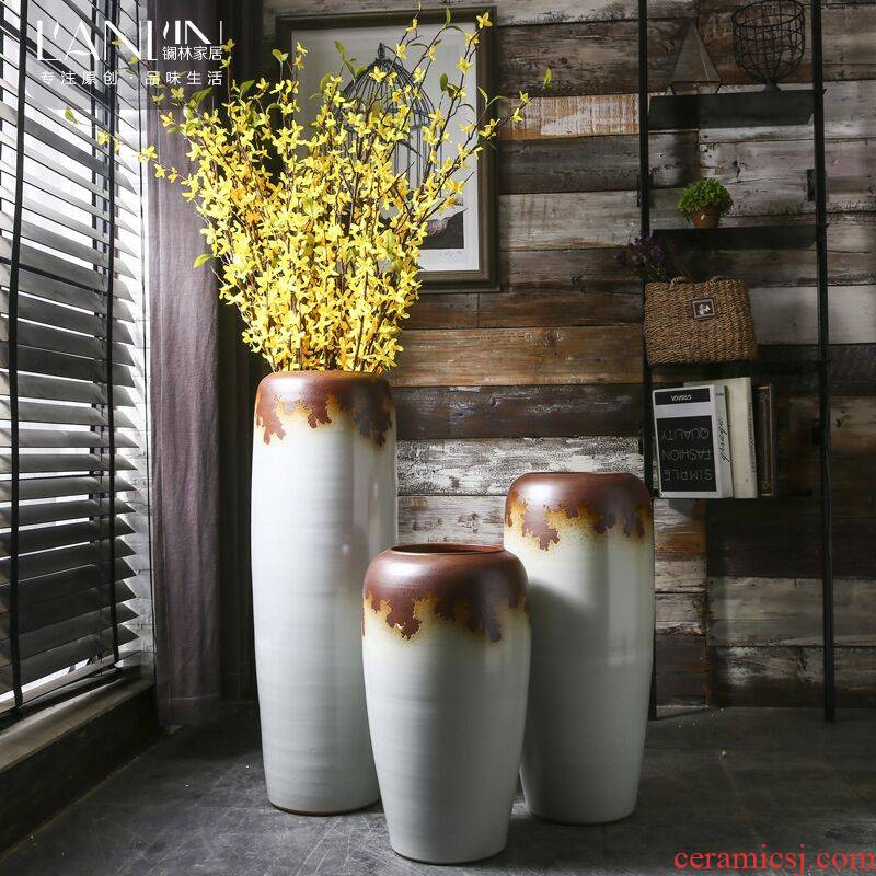 Retro ground vase do old large sitting room flower vase checking ceramic POTS creative household decorative furnishing articles
