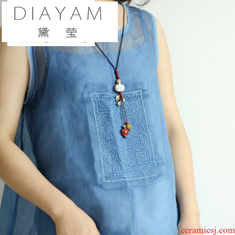 Diane jade - like stone, the original literary necklace sweater joker small pure and fresh and pendant female 's restoring ancient ways is checking ceramic chain accessories